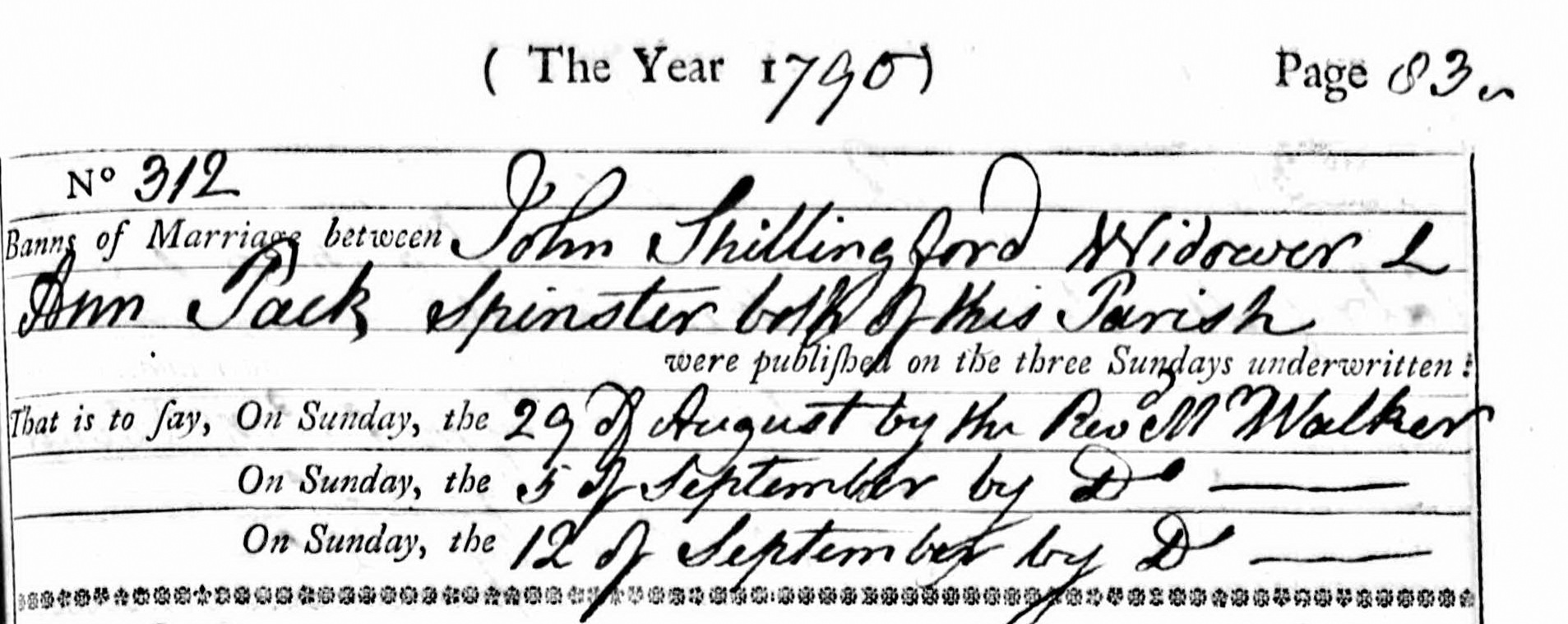 Section of parish register