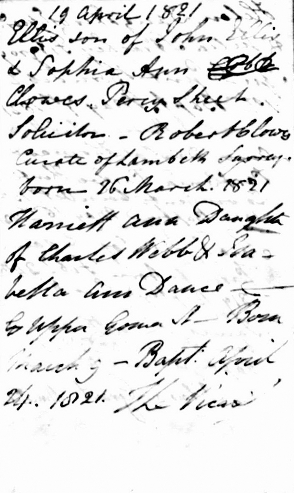 Parish register, Old St Pancras: Christening of Harriett Ann Dance