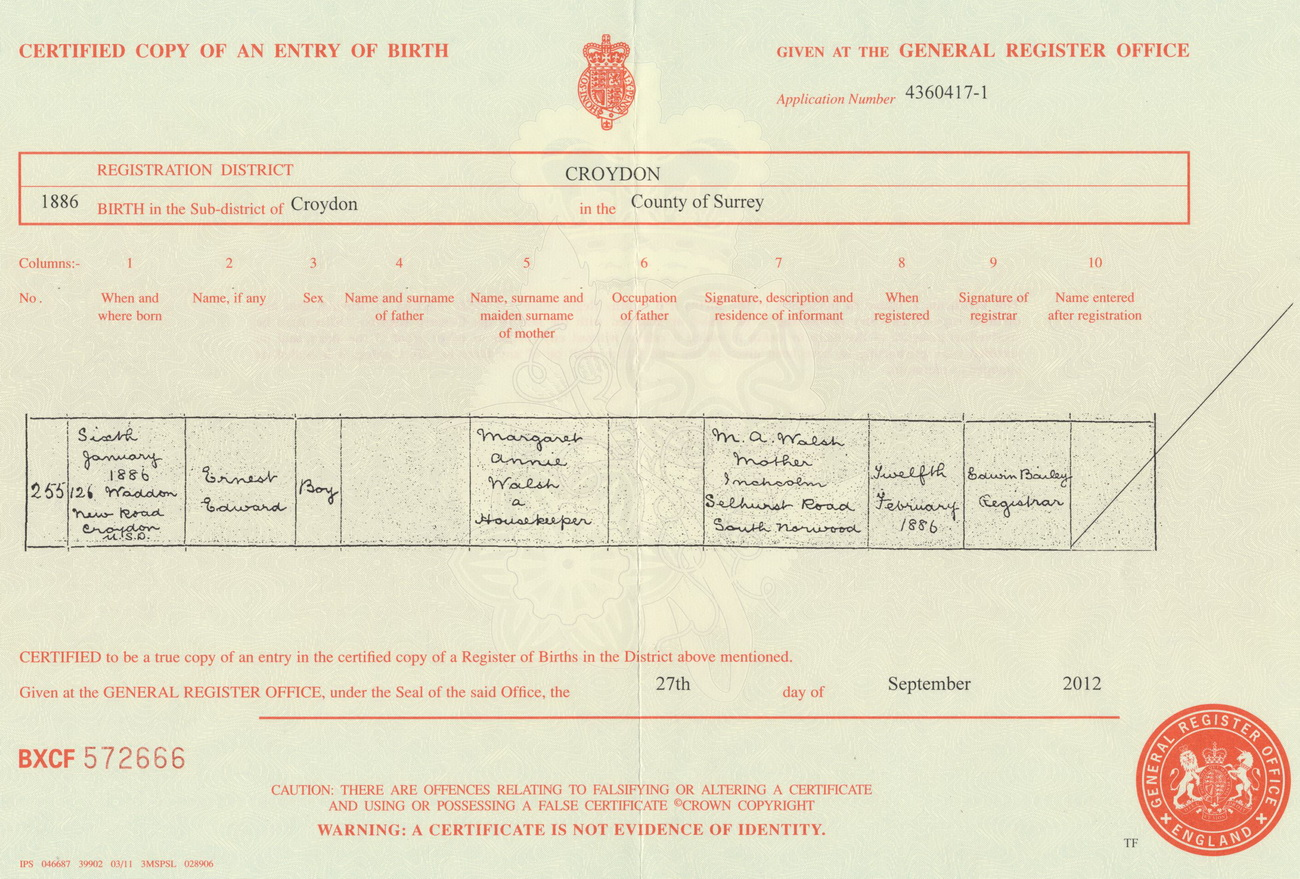 Ernest Edward Walsh birth certificate
