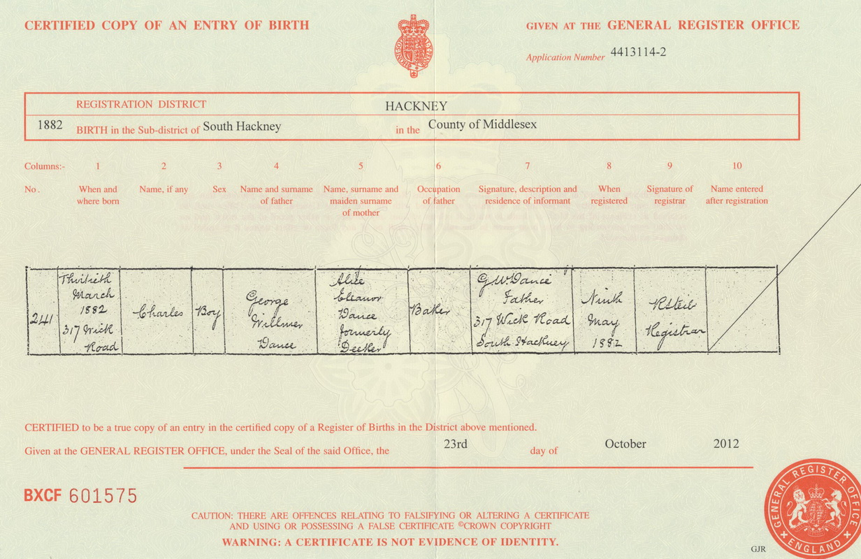 Charles Dance birth certificate
