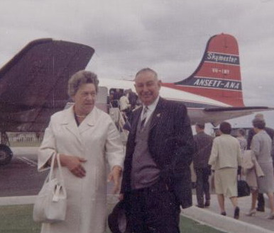 Harold and Eva Norbury at Essendon Aerodrome, Melbourne in January 1967 about to board the aeroplane behind them to Tasmania