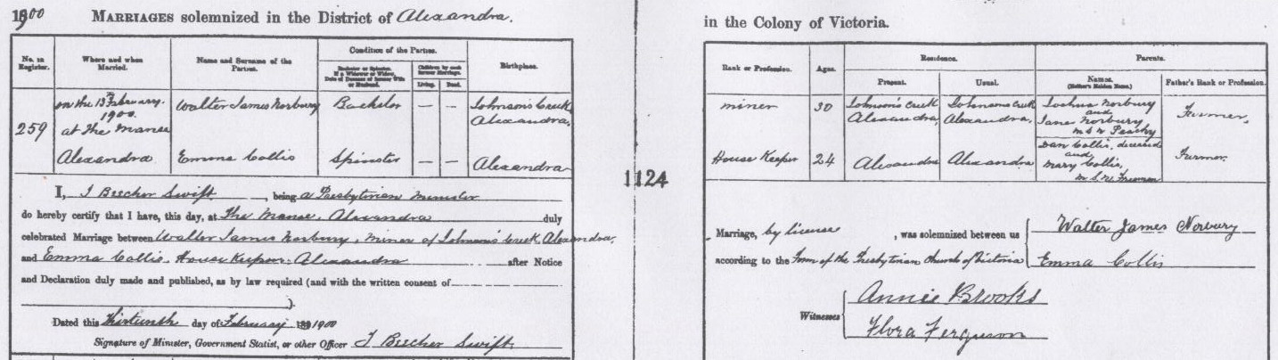 Walter James Norbury and Emma Collis marriage certificate