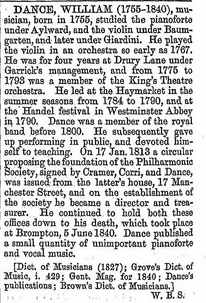 Dictionary of National Bioraphy p461: William Dance