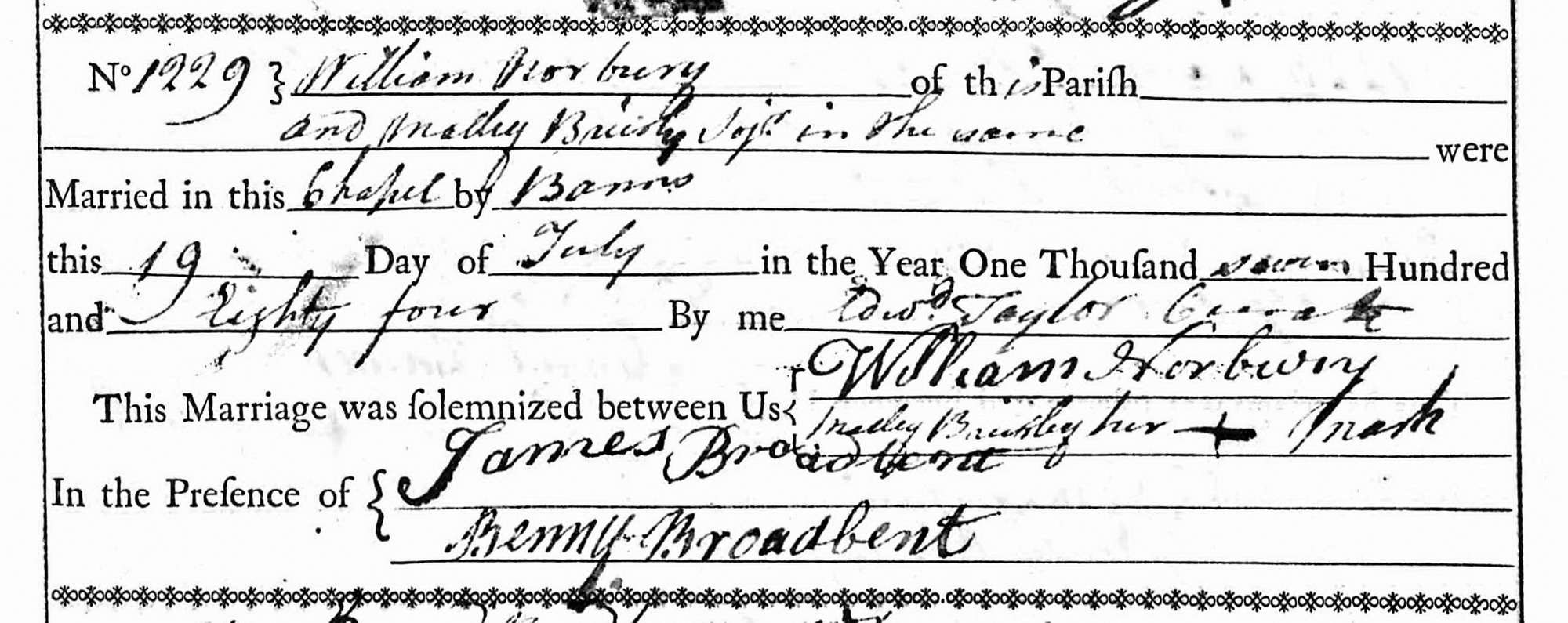 Parish Register, St Chad, Saddleworth: marriage of William Norbury and Malley Brierley