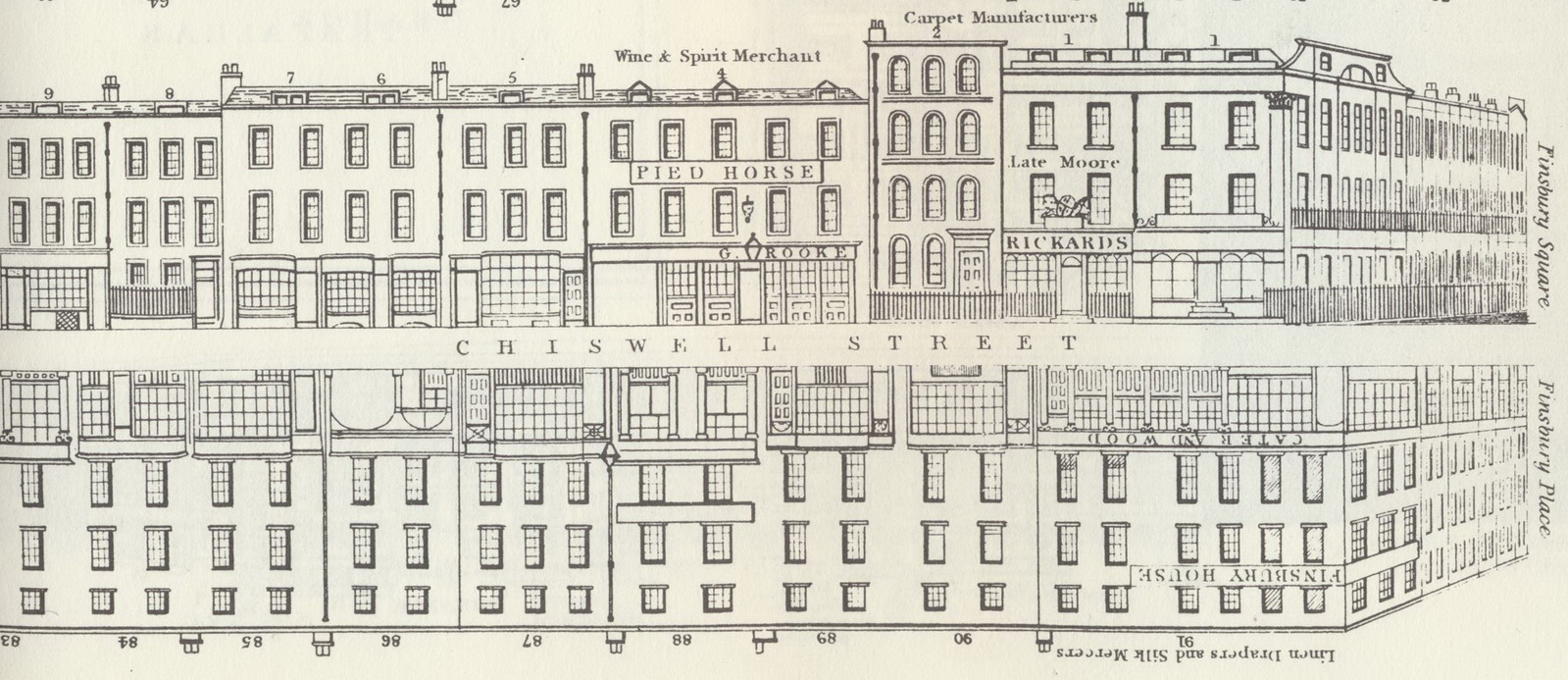 No 2 Chiswell Street, thought to be location of home of George and Elizabeth Dance