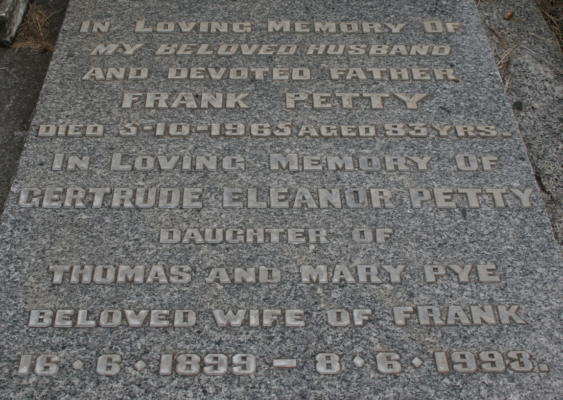 Closer view of grave of Frank and Gertrude Petty