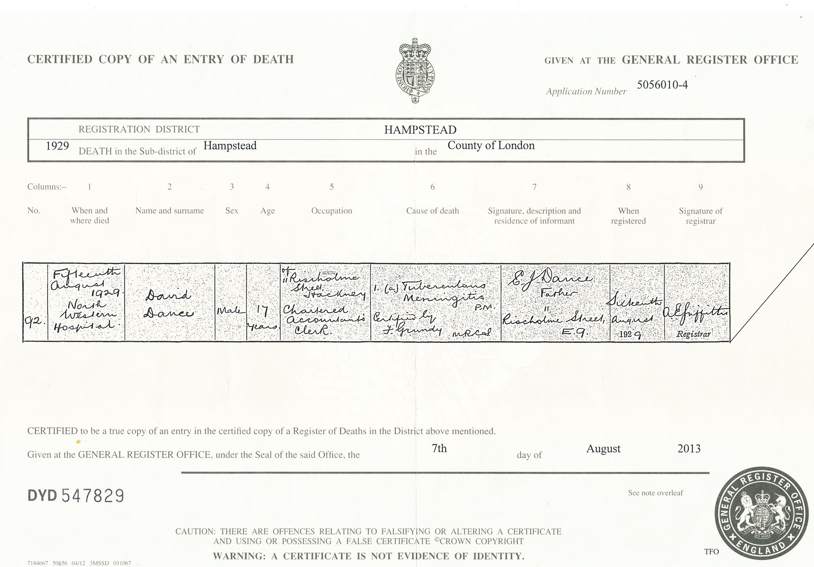 David Dance death certificate