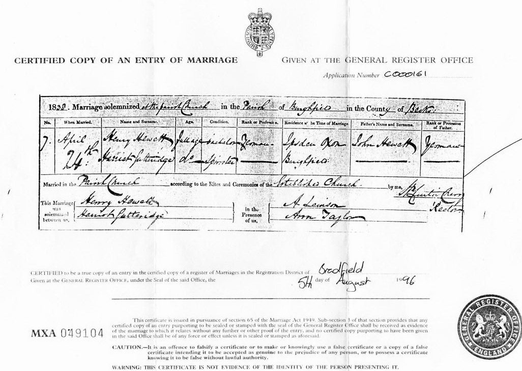Marriage Certificate Henry Hewett and Harriott