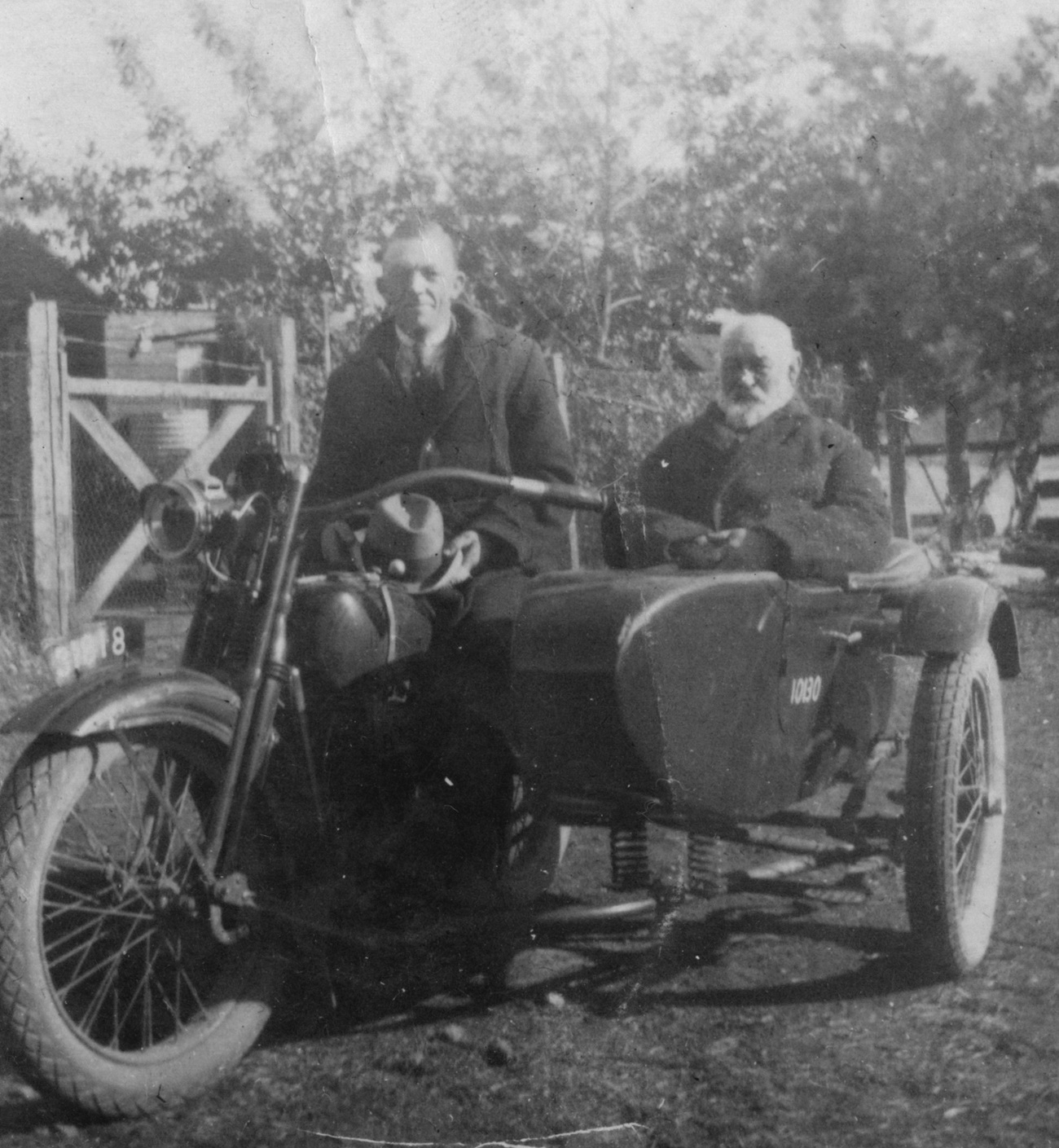 Victor and Walter on Victor's Indian motor cycle
