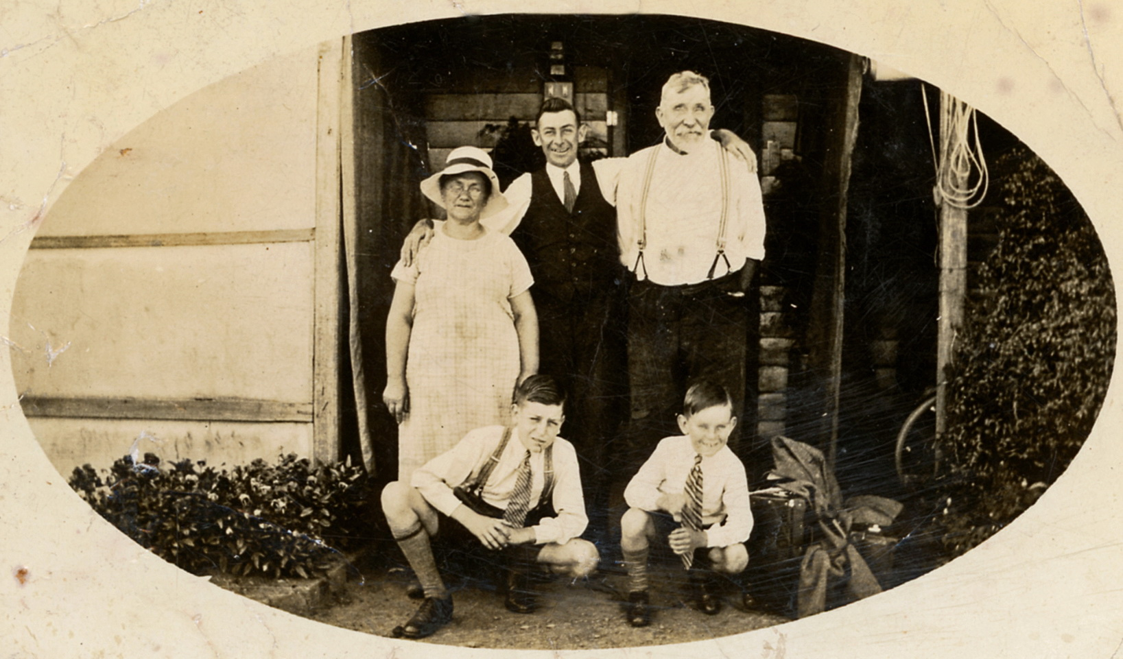 Emma, Harold and Walter Norbury (rear), Austin Harris and Brian Norbury (front)