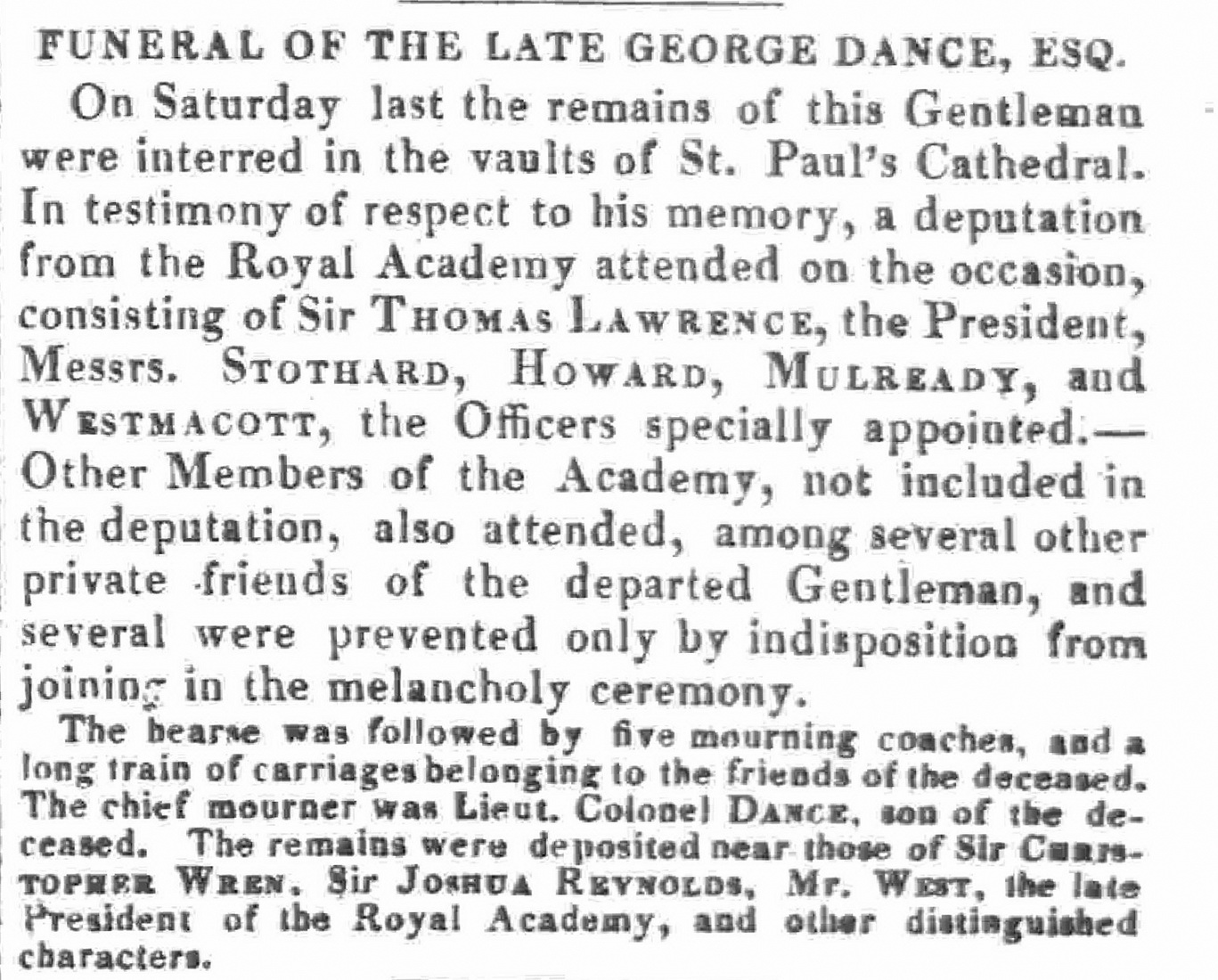 Funeral description Morning Post 24 January 1824 p1