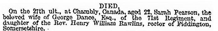 Sarah Dance death notice, the Times 26 September, 1843 p7