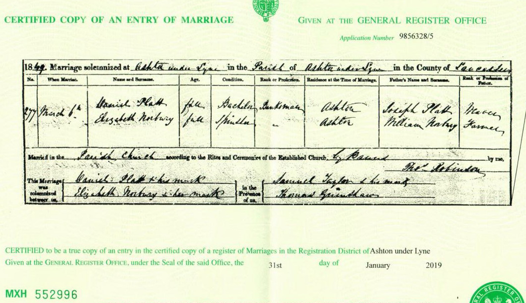 Daniuel Platt and Elizabeth Norbury marriage certificate