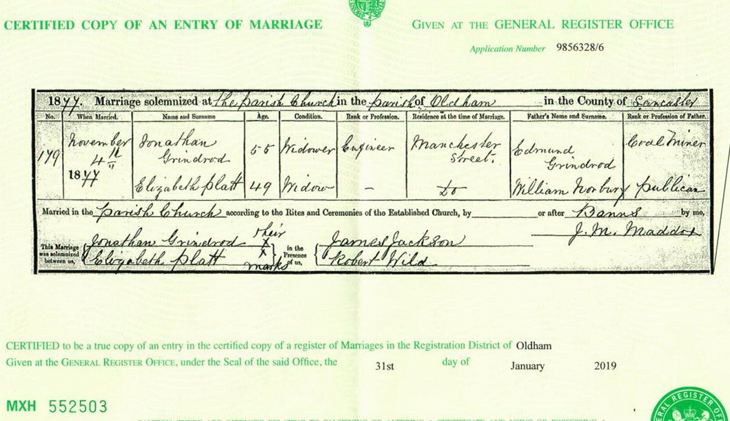 Jonathan Grindford and Elizabeth Norbury marriage certificate