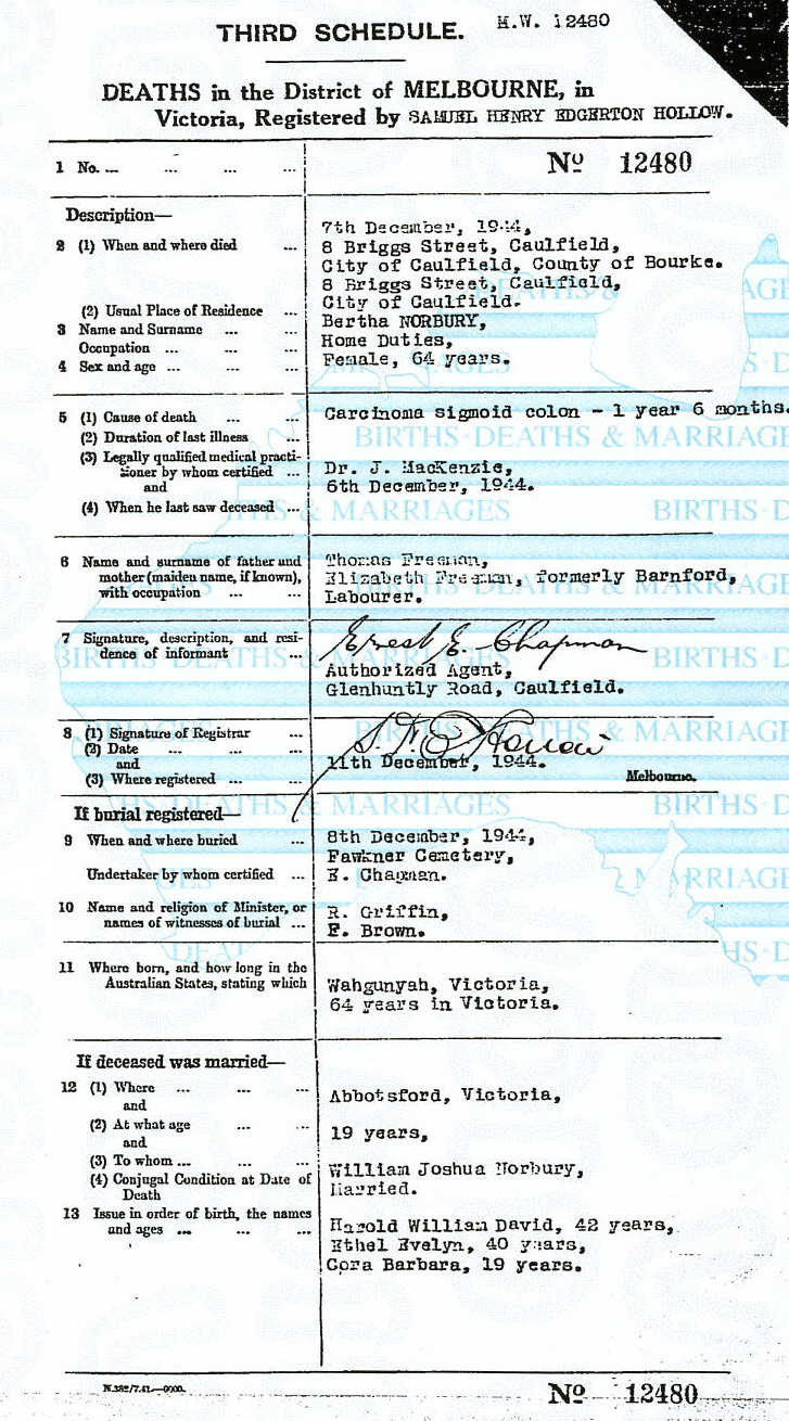 Berthelia Norbury death certificate