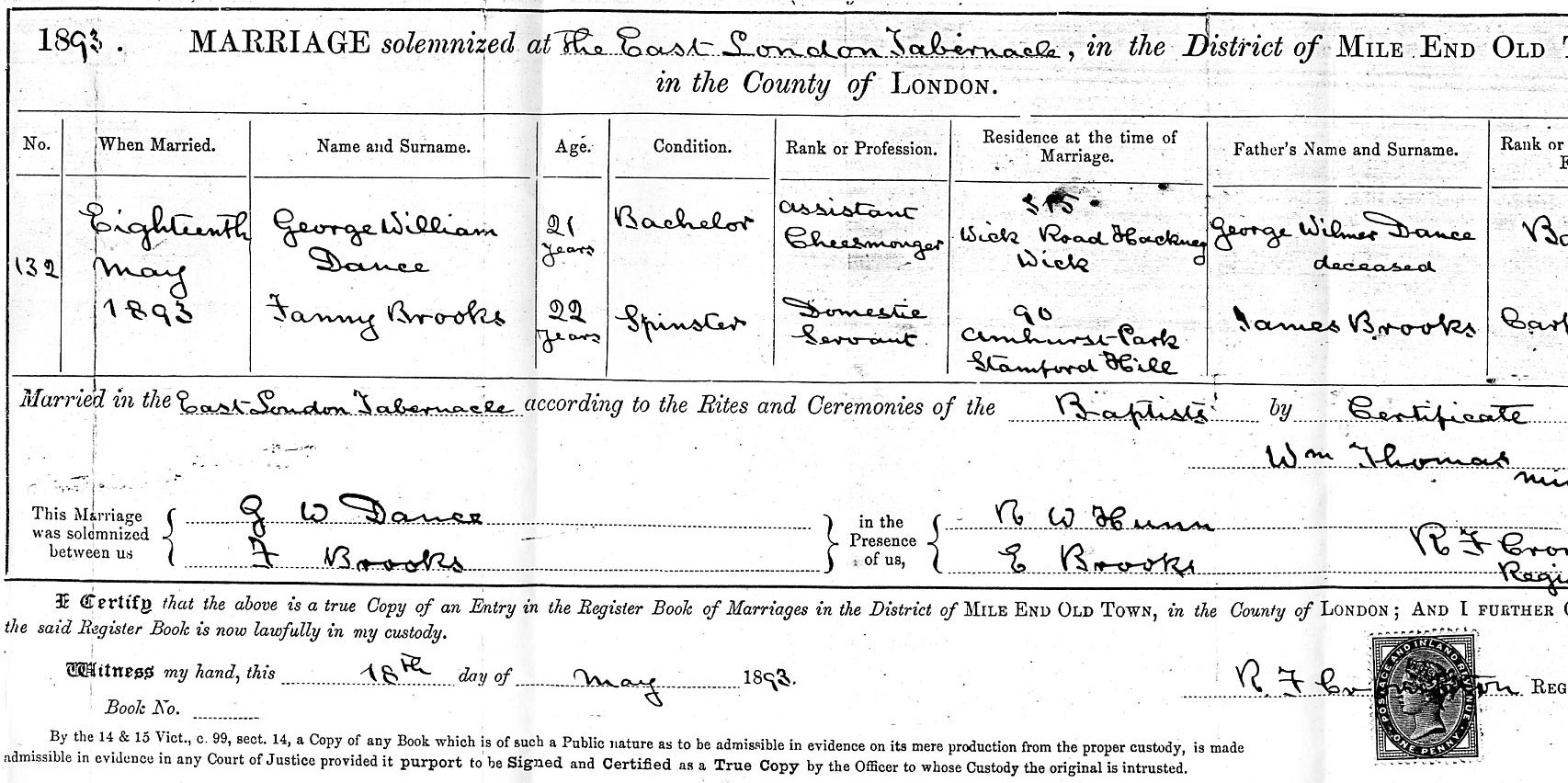 George William Dance and Fanny Brooks wedding certificate