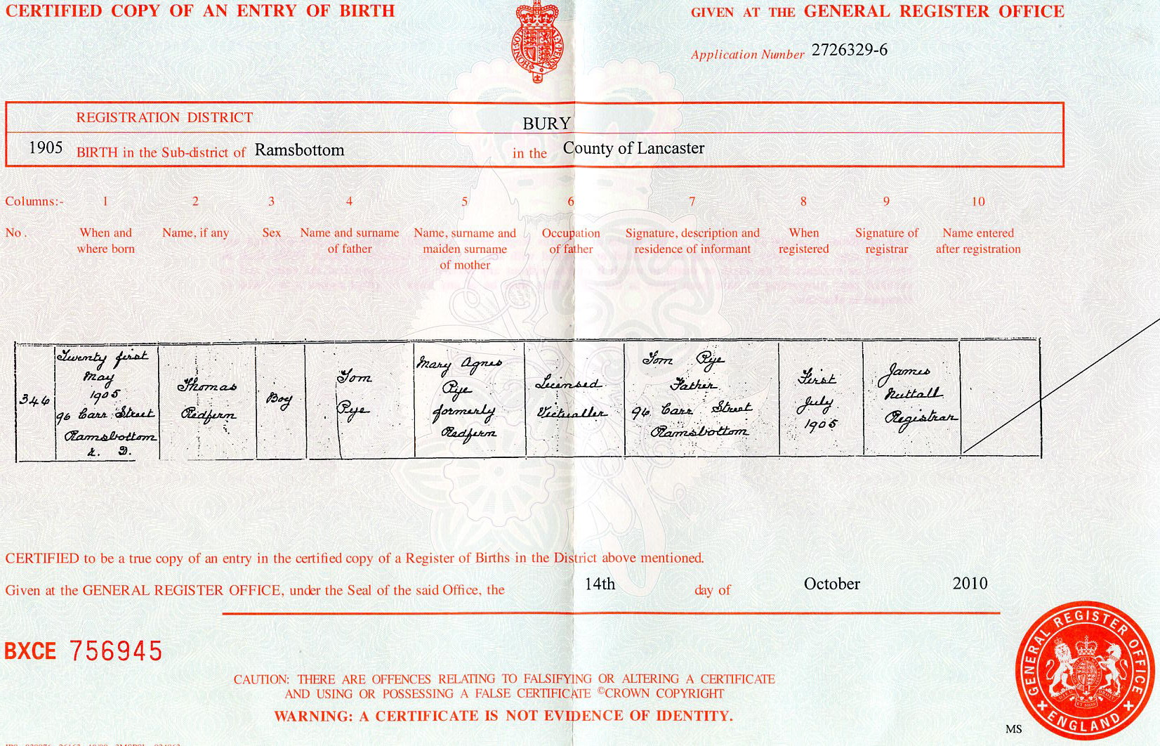 Thomas Redfern Pye birth certificate