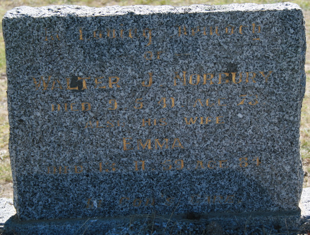 Walter James and Emma Norbury head stone