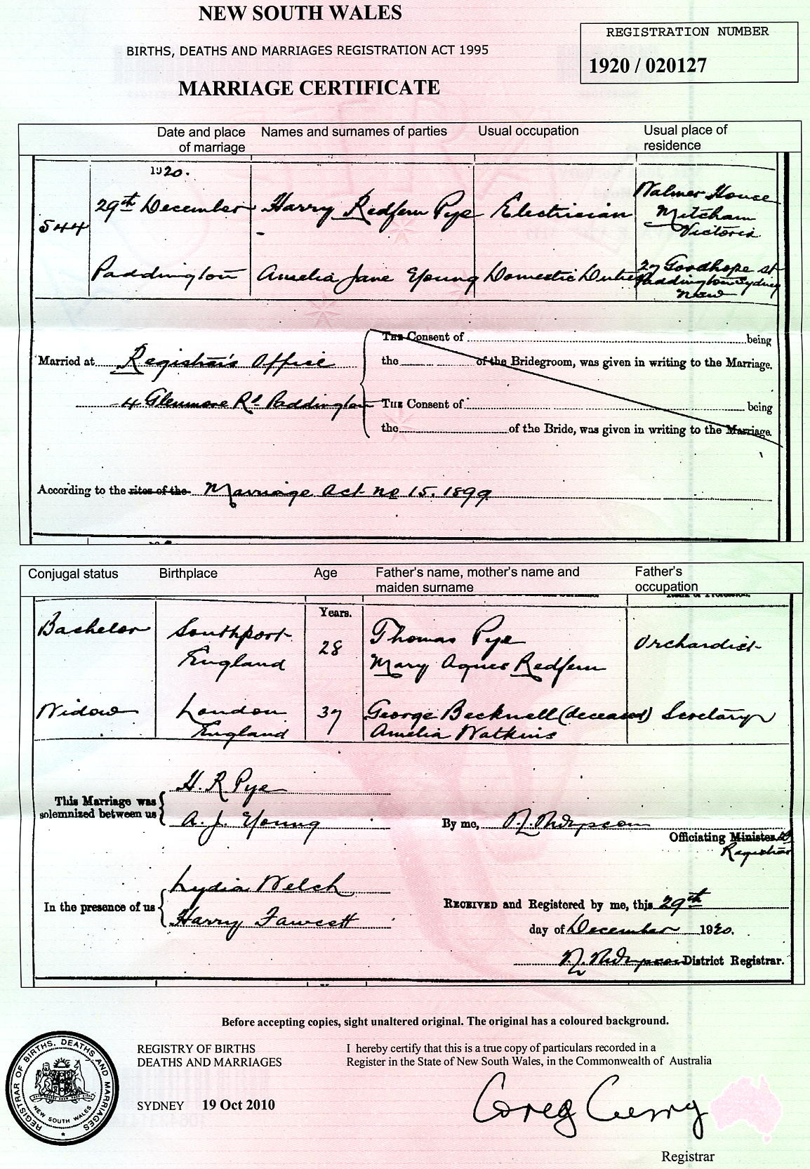 Harry Redfern Pye and Amelia Jane Bicknell marriage certificate