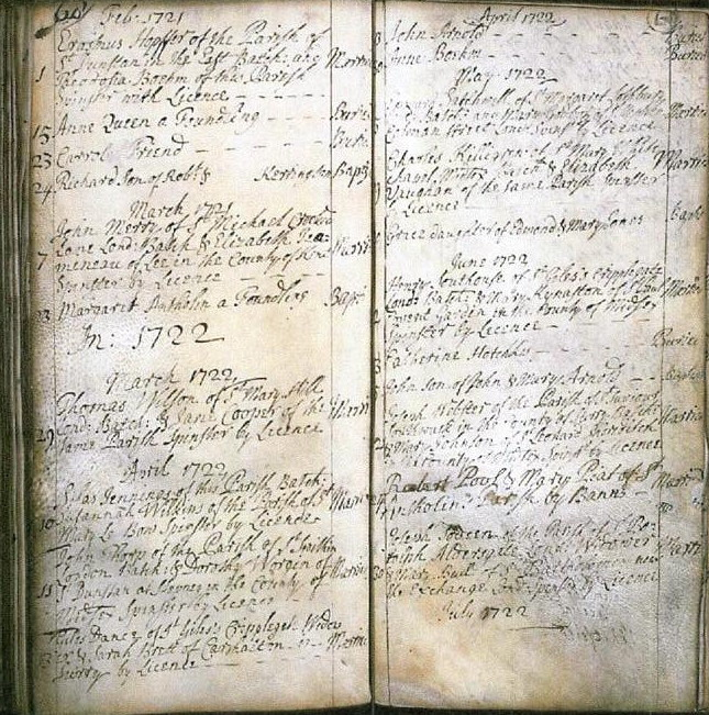 Parish register St Antholin Budge Row: marriage of Giles Dance and Sarah Brett