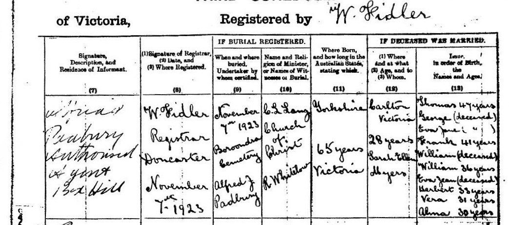 George Thompson Petty Death Certificate 2