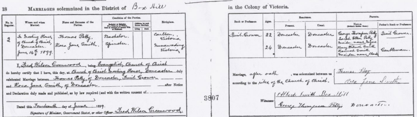Thomas Petty and Rosa Smith Marriage certificate