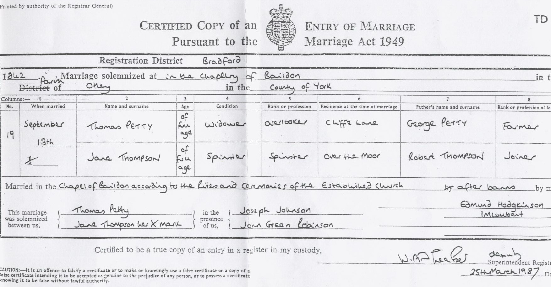 Thomas Petty and Jane Thompson marriage certificate