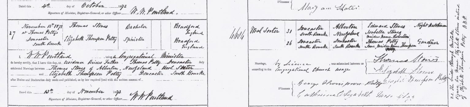 Thomas Stones and Elizabeth Petty marriage certificate
