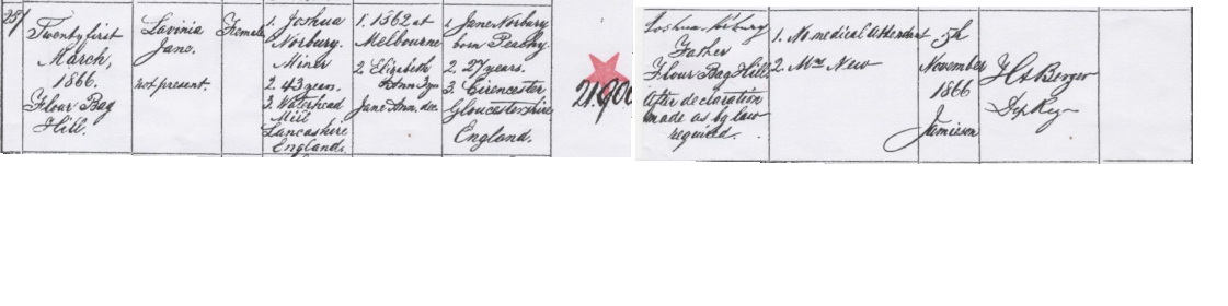 Lavinia Jane Norbury birth certificate