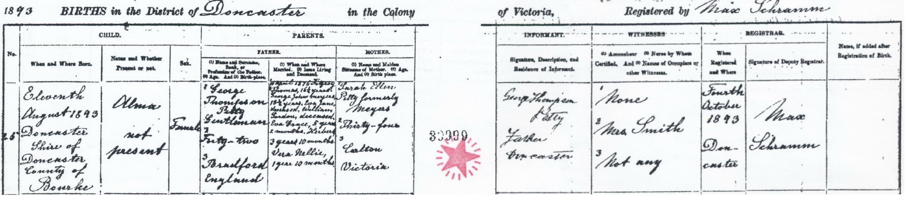 Alma Petty birth certificate