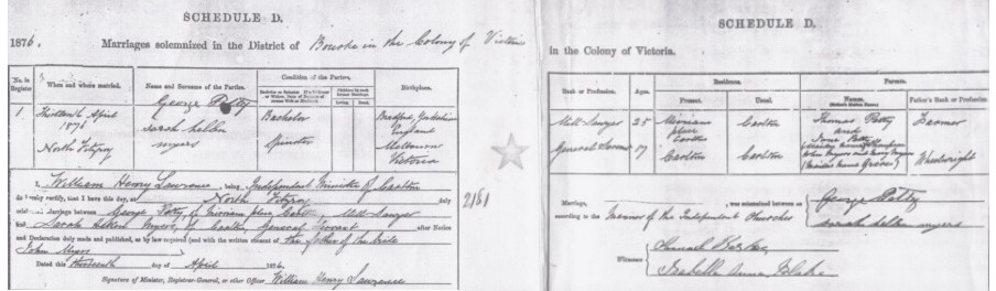 George Thompson Petty and Sarah Ellen Myers Marriage Certificate