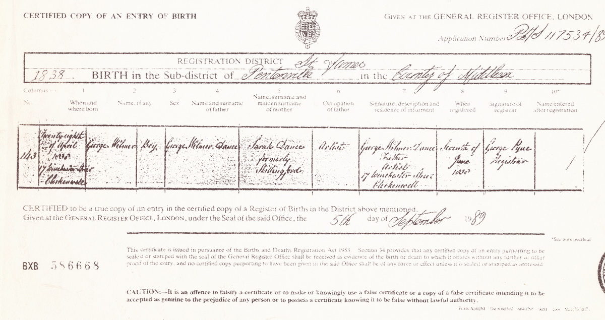 George Wilmer Dance birth certificate