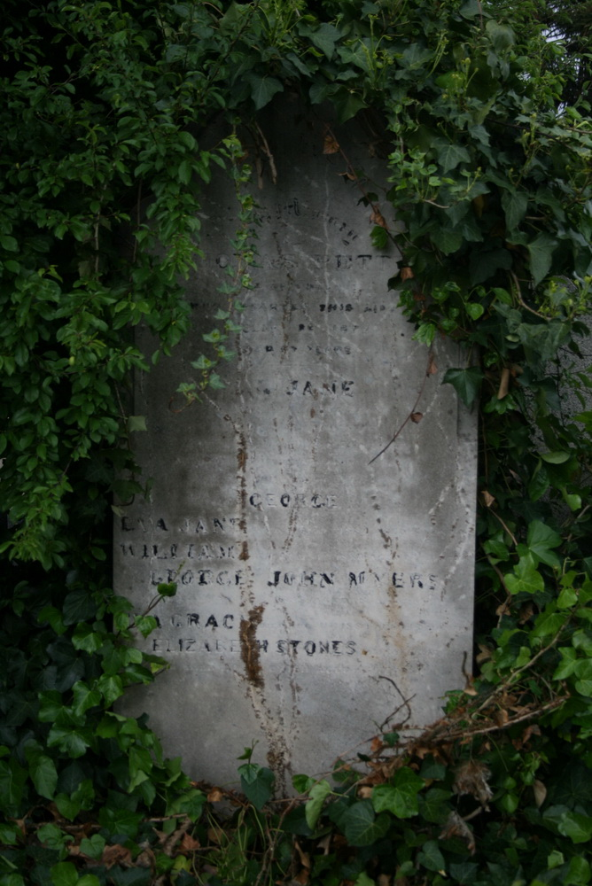 Headstone of Thomas and Jane Petty and four grandchildren
