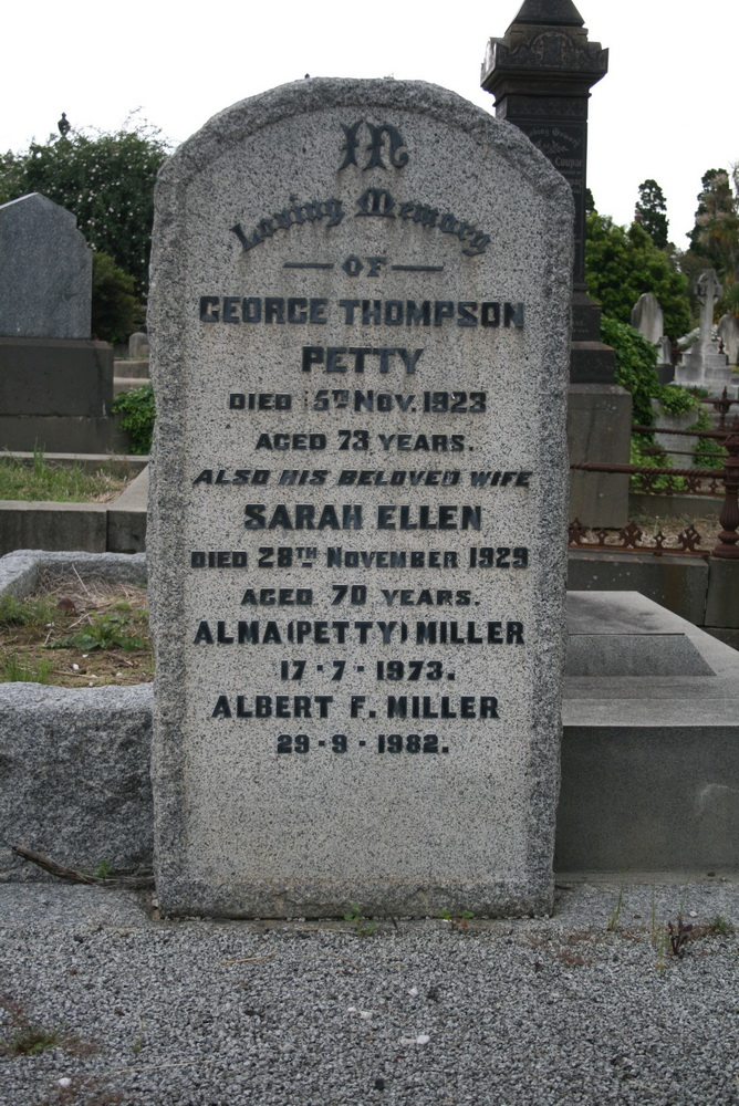 Headstone for George and Sarah Petty