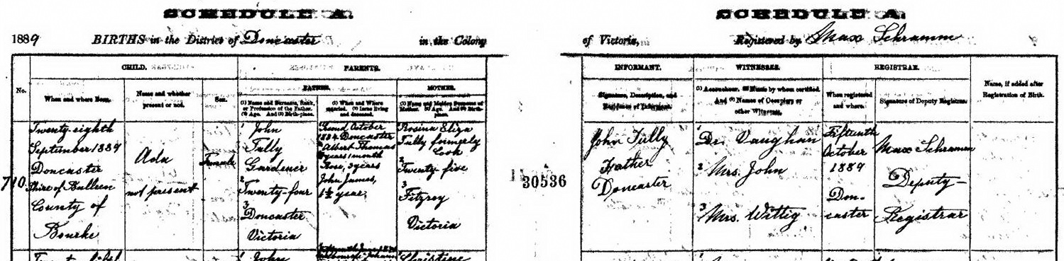 Ada Tully birth certificate