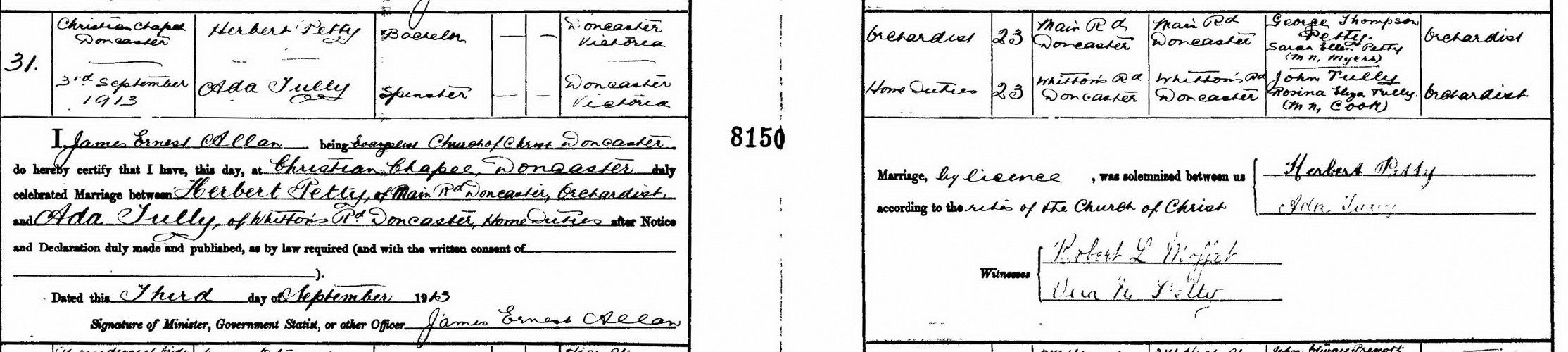 Herbert Petty and Ada Tully marriage certificate