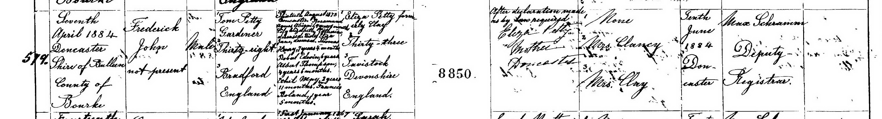 Frederick John Petty birth certificate