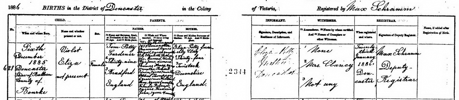 Violet Eliza Petty birth certificate