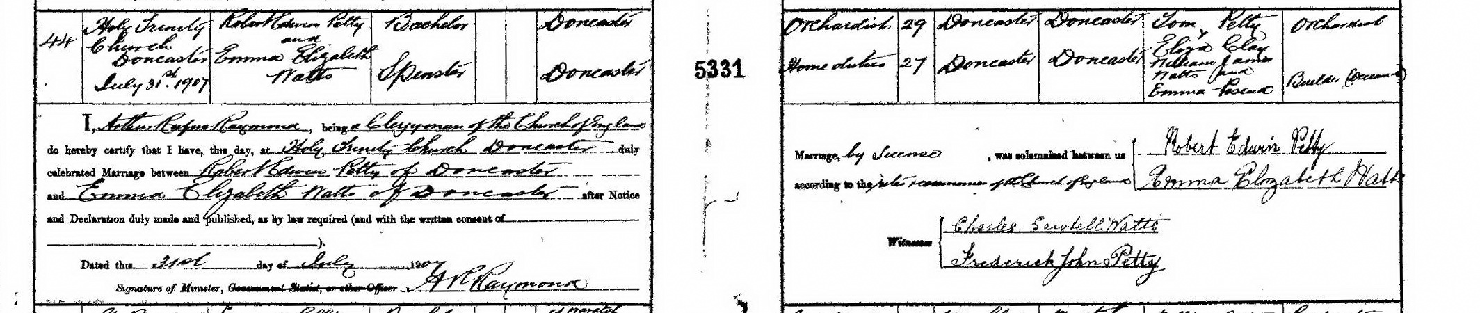 Robert Edwin Petty and Emma Elizabeth Watts marriage certificate