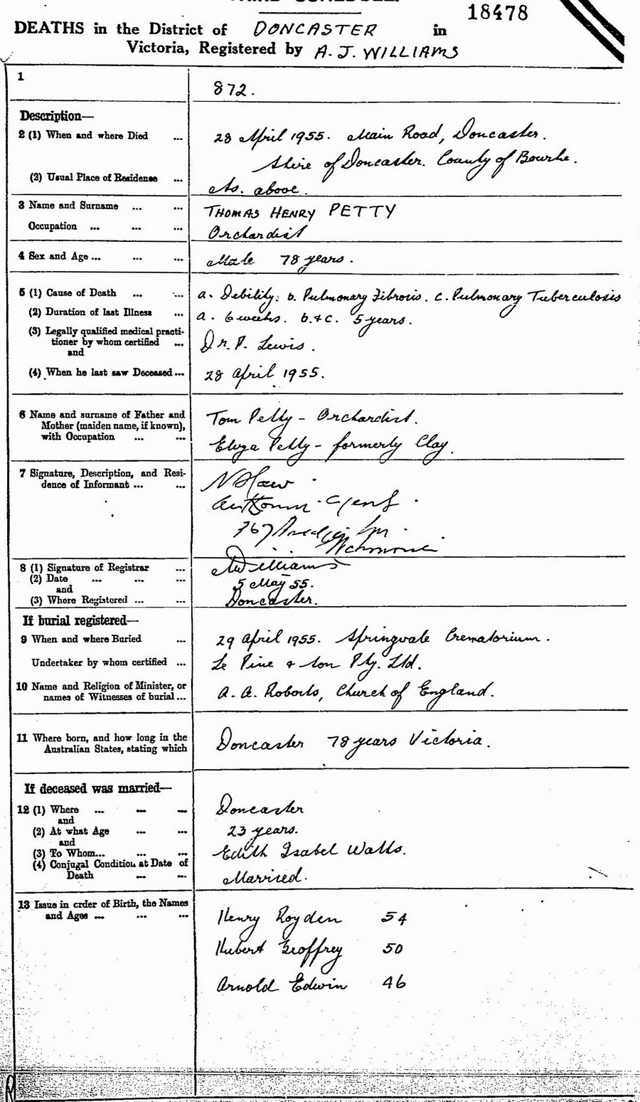 Thomas Henry Petty death certificate