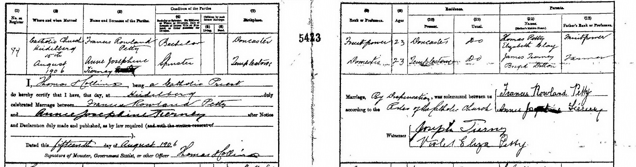 Francis Rowland Petty and Annie Josephine Tierney marriage certificate