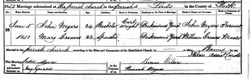 John Myers and Mary Greaves marriage certificate