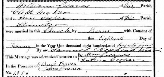 William Greaves and Ann Cooper marriage