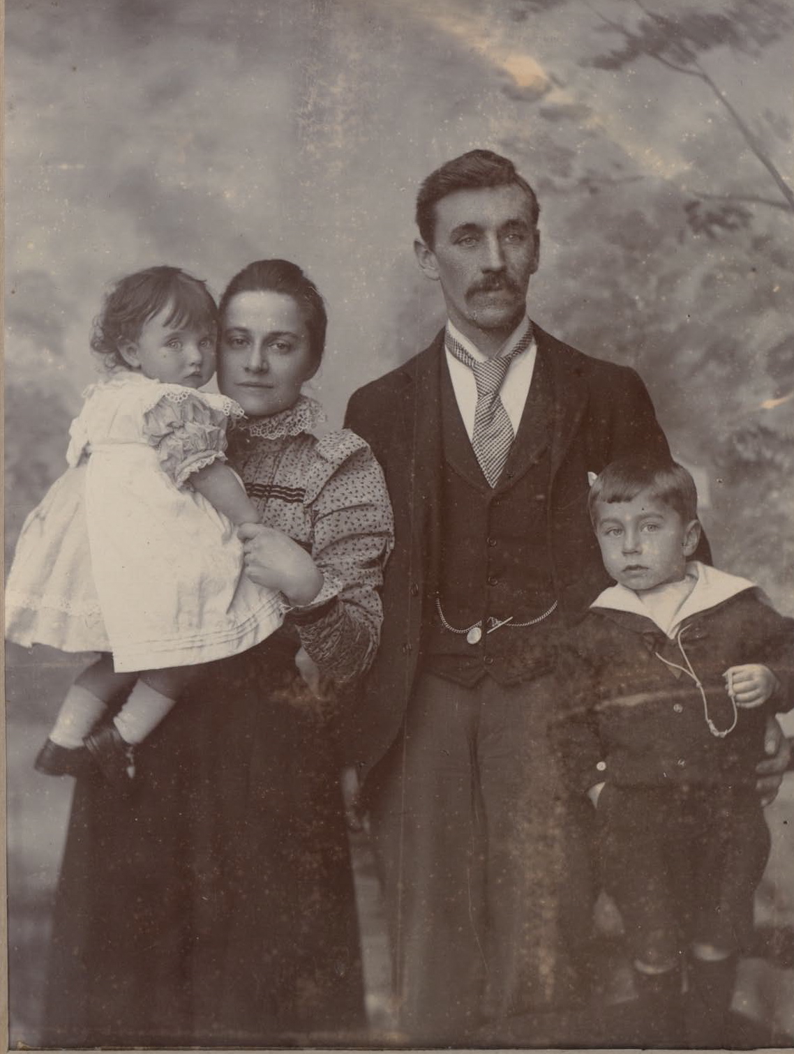 Dance Family ca 1900, from left: Ruth, Fanny, George William, George