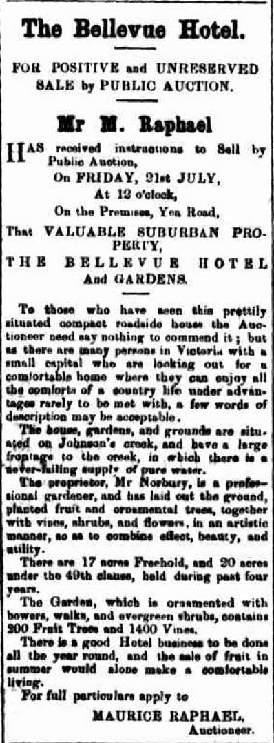Advertisement for sale of Belle Vue Hotel