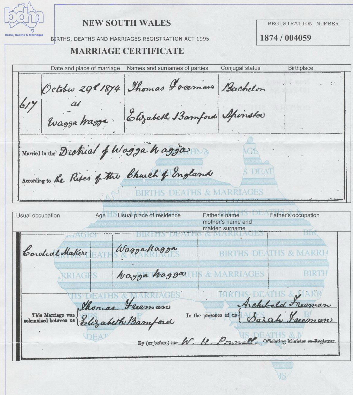 Thomas Freeman and Elizabeth Bamford marriage certificate