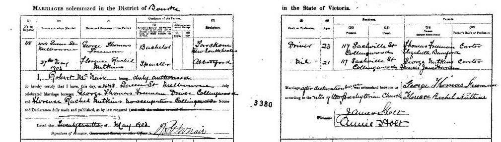 George Thomas Freeman and Florence Rachel Nutkins marriage certificate