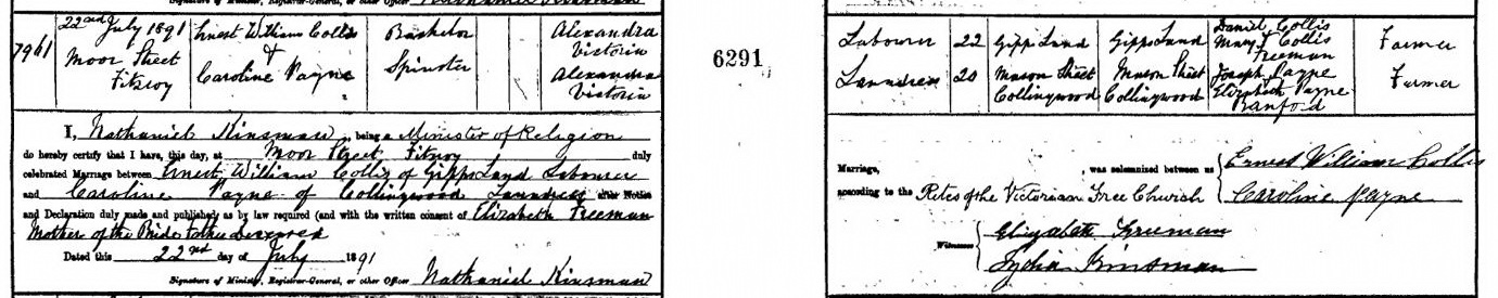 Ernest William Collis and Caroline Payne marriage certificate