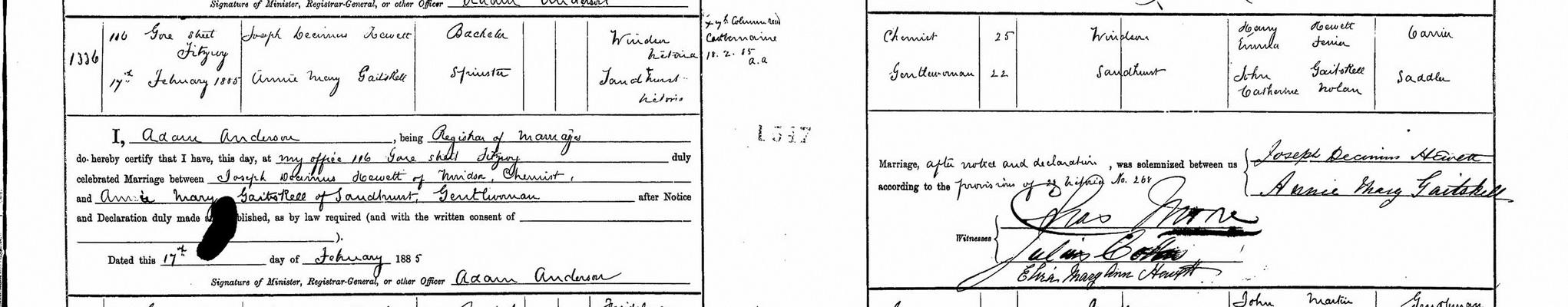 Joseph Decimus Hewett and Annie May Gaitskell marriage certificate