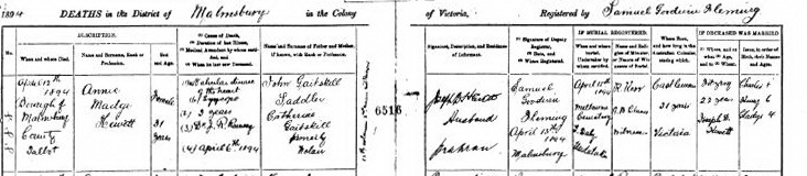 Annie May Hewett death certificate